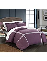 Chic Home 3 Piece Giselle Pleated Patchwork Color Block Duvet Cover Set, King, Plum