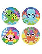 French Bull - BPA Free Children's Dinner Set - 8-Inch Melamine Kids Plate Set - Ocean, Set of 4