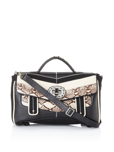Isabella Fiore Women's Bond Street Paige Flap Handbag (Black Snake)