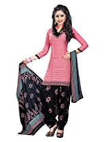 Jevi Prints Pink & Black Art Crepe Dress Material with Dupatta