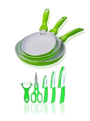 Quttin Set 3 Sartenes Cerámicas Verde + Set 5 Cuchillos Cerámicos Supreme Verde