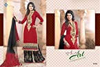Latest Red And Black Embrodred Palerar Fit Suit