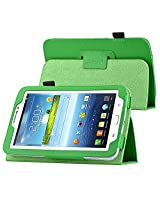 eForCity Leather folio case with Stand Compatible with Samsung Galaxy Tab 3 7.0 Kids / Galaxy Tab 3 7.0 P3200, Green(PSAM3200LC06)