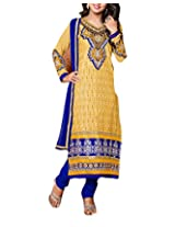Clothing Deal Women's Cotton Unstitched Dress Material (Yellow)