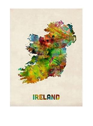 Trademark Fine Art Ireland Watercolor Map by Michael Tompsett