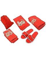 Wonders 500 GSM 6 Piece Cotton Towel Set - Red