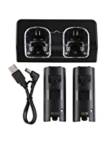 Element Digital(Tm) Dual Battery Charging Dcoking Station With Led Light For Nintendo Wii Remote Control + 2 Rechargeable Batteries Black