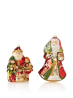 Krebs Glas Lauscha Victorian Santa with Children & Father Frost