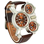 Oulm Three Time Display Quartz Mens Military Army Sport Wrist Watch Brown Leather