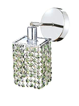 Elegant Lighting Mini Crystal Collection Square Wall Sconce, Light Peridot