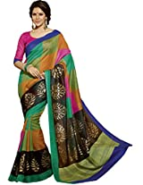 Multi Colour Bhagalpuri Casual Wear Paisley & Square Printed Saree 12551