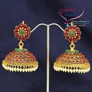 E0527 South Indian Fashion Traditional Kempu Temple Stones Jhumka Earrings