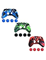 3 In 1 & 4 In 1 Pack Combo Silicone Protective Case With Stick Caps For Microsoft Xbox One Controller (Camo Series)