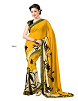 Indian Fashionista Yellow Colour Floral Print Fashion Georgette Saree