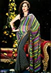 Multicolor and Black and White Faux Georgette Saree with Blouse