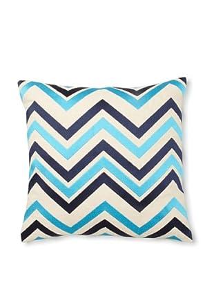 Courtney Cachet Chevron Linen Pillow, Turquoise/Navy