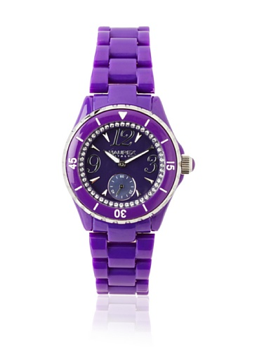 Haurex Italy Women's PP342DPP Make Up Crystal Ring Mother-Of-Pearl Subdial Purple Watch