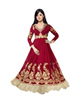 Alicolours Women'S Faux Georgette Anarkali Dress Material (Alifiona4006_Maroon_Free Size)