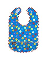 Kushies Taffeta Waterproof Bib - Crazy Circles Blue, Infant