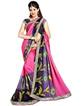 Shree Bahuchar Creation Women's Chiffon Saree(Skb35, Pink and Blue)