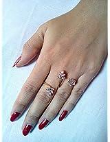 Ashiana Exclusive! Ethnic American diamond double finger adjustable finger ring leaf d2