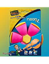 House of Quirk DISC Ball Junior Glow OUTDOOR TOY BALL FRISBEE CHILDRENS GARDEN PARK FLAT KIDS Phlat Ball Noctilucent Noctilucous - Pink
