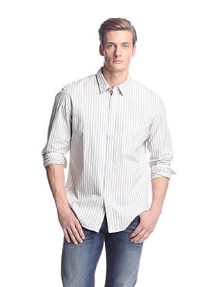 Façonnable Tailored Denim Men's Textured Stripe Slim Shirt (Grey)