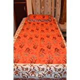 Posharc Jaipuri Cotton Single bed sheet with one pillow cover; 228.6 x 152.4 Centimeters;