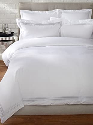 Mason Street Textiles Hotel Piping Duvet Set (White/Steel)