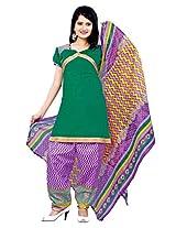 Krisha Womens Cotton Salwar Unstitched Dress Material (P1-107 _Green)
