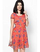 Floral Fever Tangerine Skater Dress