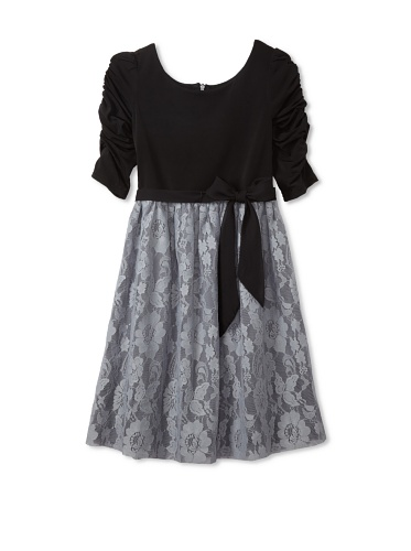 Blush by US Angels Girl's Ruched Sleeve Dress (Black/Grey)