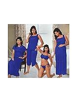Indiatrendzs Sexy Hot Women's Silk Satin Nighty Blue 6 pc Set Bedroom Sleepwear -Free Size