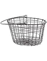 Craftos Impex Iron Basket (22 cm x 26 cm x 18 cm, Black)