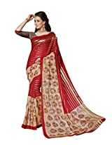 Maroon & Beige Colour Faux Bhagalpuri Semi Party Wear Shiny Paisley Printed Saree 13337