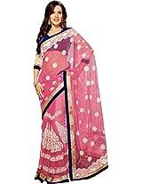 Net pink Wedding Wear Saree Heavy Resham Embroidery Work Net Sari
