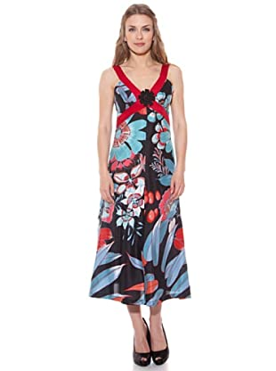 Divina Providencia Vestido De Seda Flores (Turquesa)