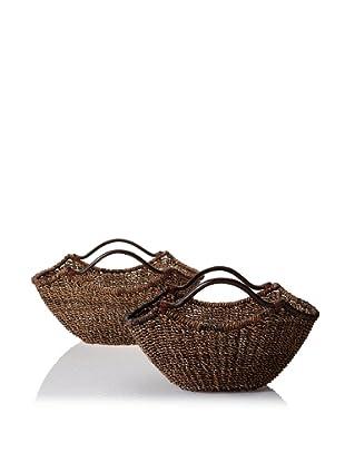Padma's Plantation Set of 2 Gobi Bundle Nesting Baskets (Natural/Espresso)