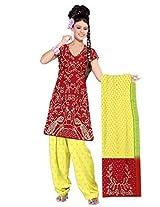 Kala Sanskruti Women's Cotton Silk Blend Red Dress Material