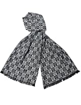 Reversible Two Tone Noble Emblem Rayon Silky Cashmere-Feel Long Scarf - Black