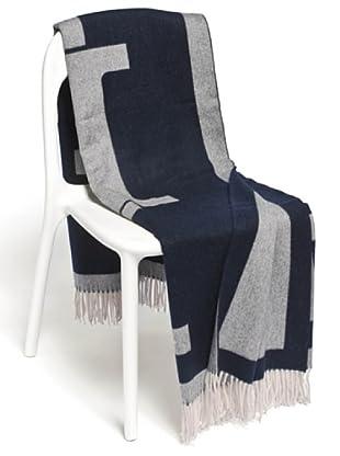 Frette Plaid 80% Wool 20% Cachemere (avorio/blu)