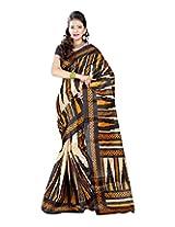Jai Maa Ambey Creation Women's Cotton Silk Saree (Orange)