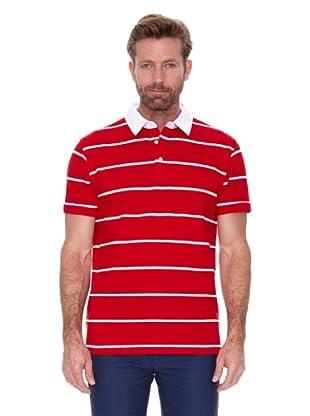 Cortefiel Polo Piqué Rayas Cuello Popelín (Rojo)