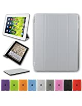 Ultra Thin Slim Fit Foldable Flip Grey Cover Case for Apple iPad Tablet 2, 3 & 4 With Sleep / Wakeup feature enabled and Stylus