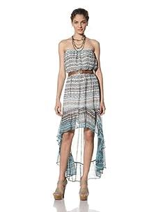 Gypsy 05 Women's Isla Strapless High Low Silk Dress (Turquoise)