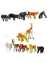 Sunshine 12 Pcs Wild Animals Set (Medium Size) - Learning and Educational Toy + Made of Rubber + Non-Toxic