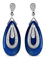 Aastha Jain Blue Zade Quartz Sterling Silver Pear Earring For Women