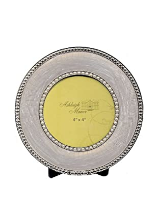 Ashleigh Manor Round Enameled Photo Frame with Double Border