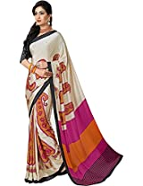 Pagli cream with pink crepe printed saree