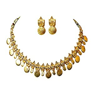 Surat Diamonds Coin Shaped Gold Plated Necklace & Earring Fashion Jewellery Set for Women (PS261)